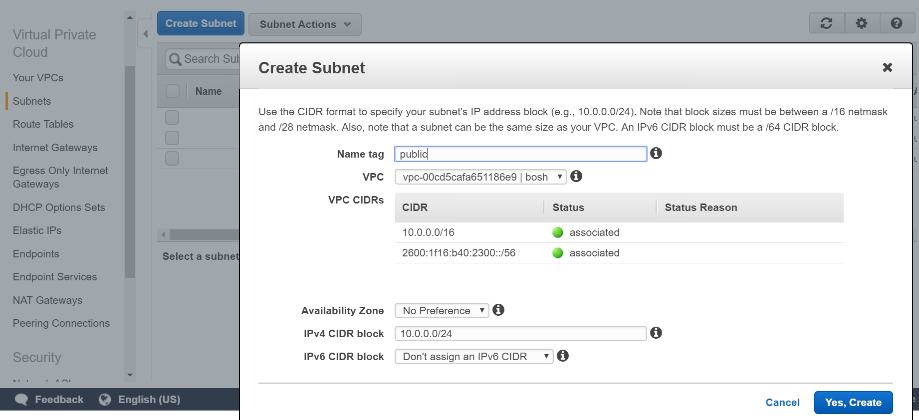 Images: AWS VPC Create step 3