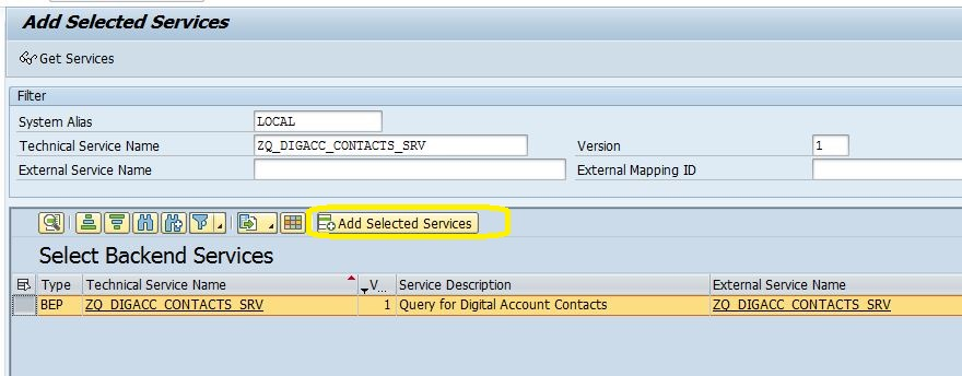 SAP Gateway Add Service