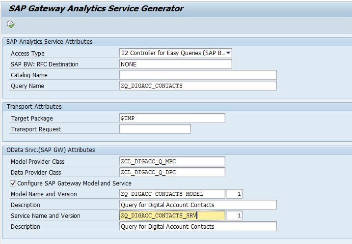 SAP Gateway Analytics Service Generator